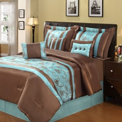 Brown And Teal Bedding, Family Dollar.