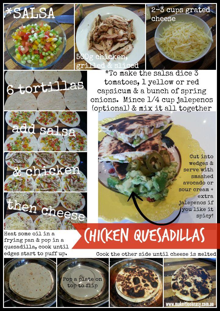 Delicious Chicken Quesadillas  #stepbystep #easymeals