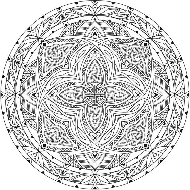 Free Printable Coloring page from Dover Publications Creative Haven Celtic Mandalas Coloring Book