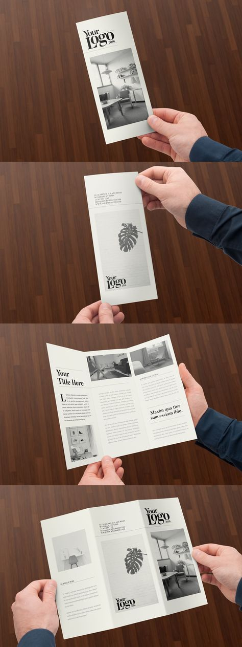 Minimal Black & White Trifold Brochure Template InDesign INDD