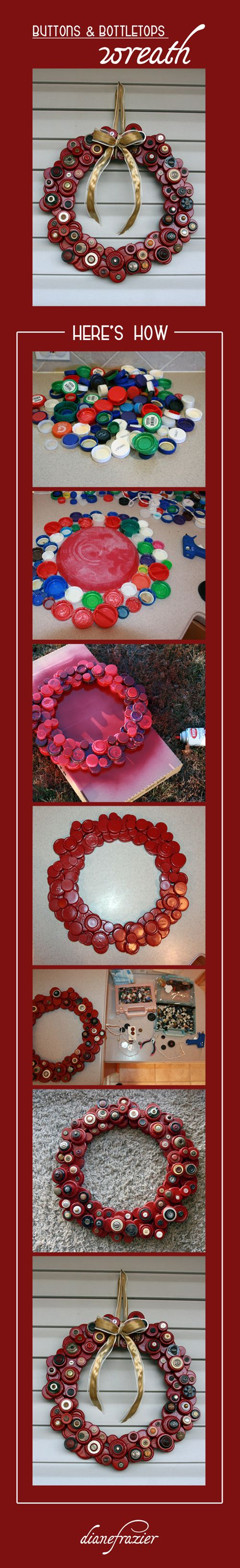 Plastic Lids / Bottle-tops + Hot Glue + Spray Paint + Old Buttons + a Bow = Fab Wreath :)