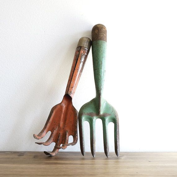 Pair of rustic garden hand tools by SelbyGeneral on Etsy, $30.00