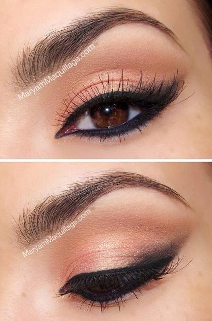 Splendido makeup sui toni pescati per occhi marrone scuro/nocciola.