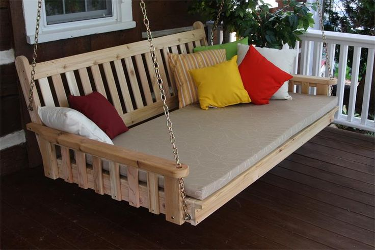 Amish Cedar Wood Traditional English Swing Bed The most relaxing seat outside, this English Swing Bed is yours to decorate with colors you love.