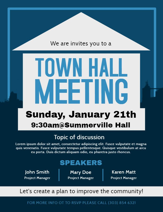 Town hall meeting and discussion forum poster/flyer design template Town hall meeting Town hall Business hours sign