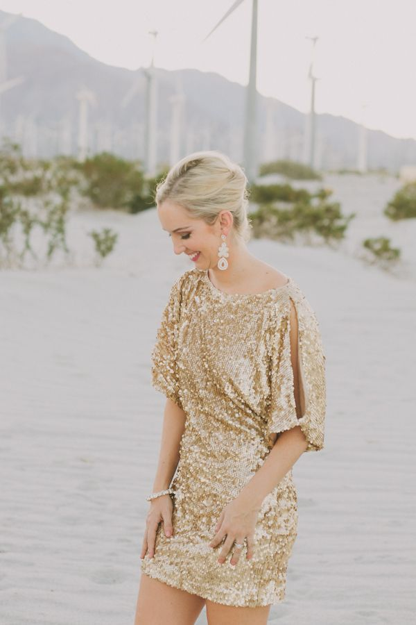 A sparkly gold sequined dress is a great look for a wedding reception!