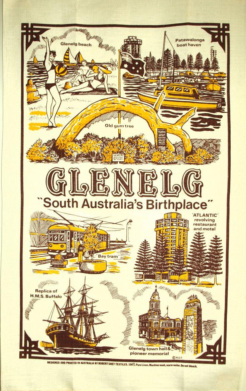 Glenelg South Australia's Birthplace Tea Towel - Vintage 70s Pure Linen Souvenir Atlantic Beach - New Old Stock by FunkyKoala on Etsy