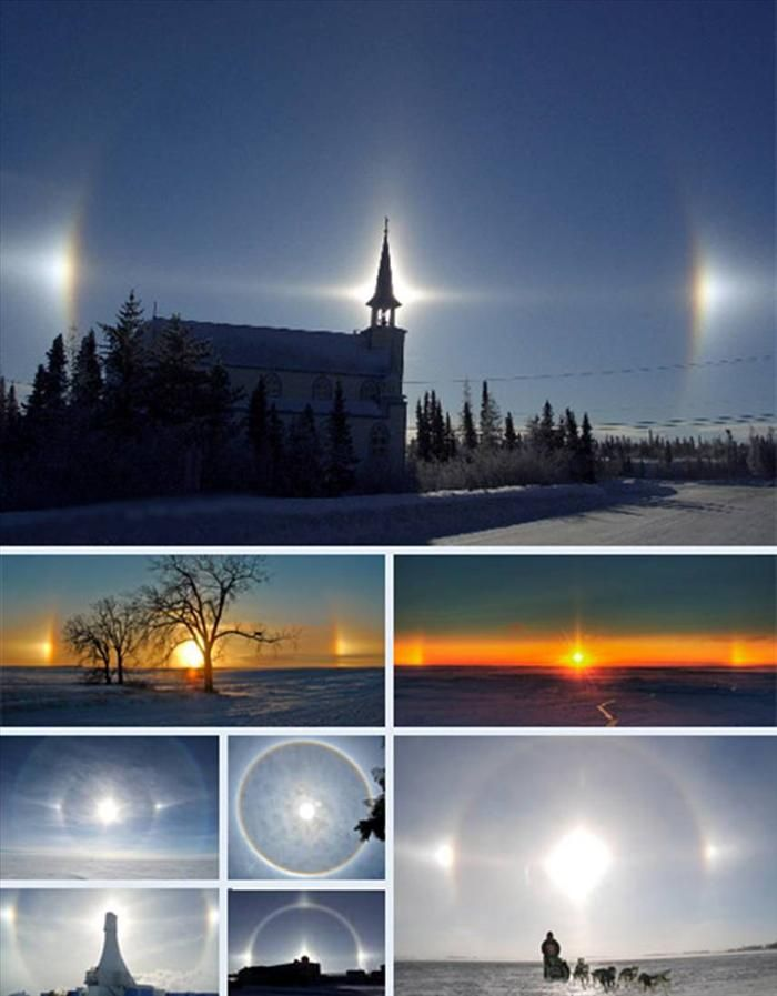 Sundogs are the product of light passing through crystals. The particular shape and orientation of the crystals can have a drastic visual impact for the viewer, producing a longer tail and changing the range of colors one sees. The relative height of the sun in the sky shifts the distance the sundogs appear to be on either side of the sun.