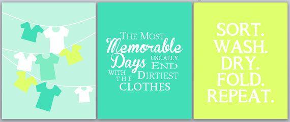 Laundry Room Decor Set // Wall Quote Aqua Series