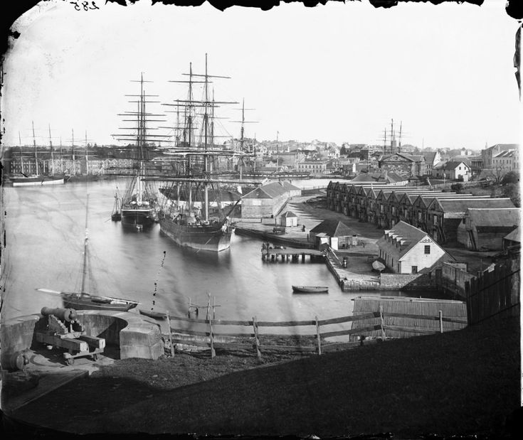Beaufoy Merlin Circular Quay from Dawes Battery 1873 Wet plate glass negative, on 4/Box 58/No. 285 .