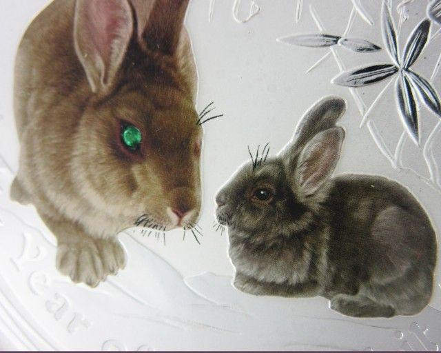 Lunar Series II 2011 Year of the Rabbit Gemstone ONE KILO rabbit silver bullion coin, lunar rabbit
