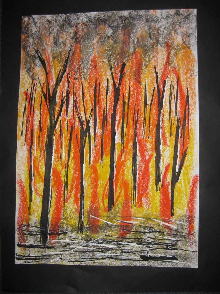 Bushfire - oil pastel background and printed paint trees