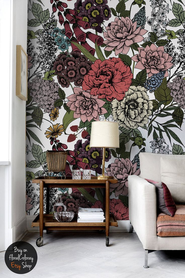 Autumn flowers wall mural, Beauty floral temporary ...