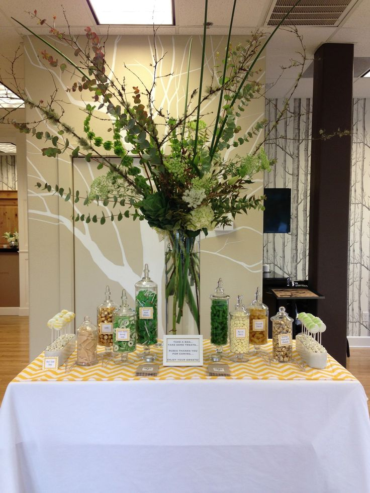 Lime, yellow and gold small candy display/buffet for hair salon grand opening @blissfullysweetpdx/Portland/Oregon