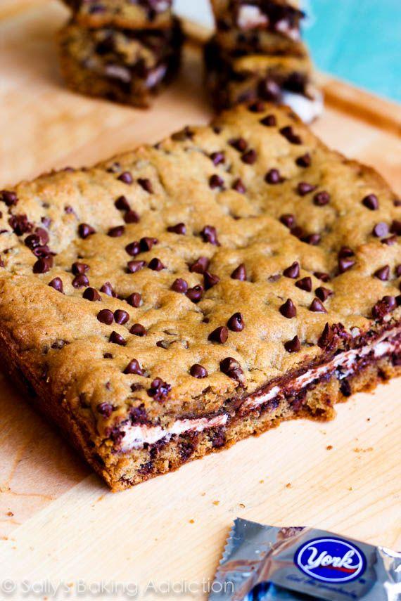 York Peppermint Patty Stuffed Chocolate Chip Cookie Bars. Soft, chewy, and gooey! Recipe at sallysbakingaddiction.com