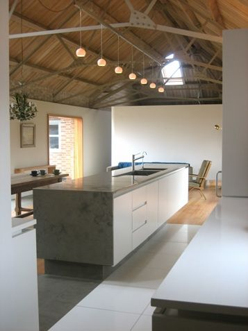 Amazing kitchen inside an old converted dairy barn.