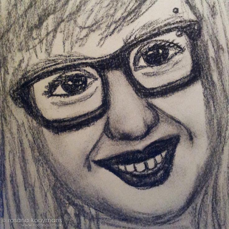 Self portrait in charcoal. #selfportrait #charcoal #drawing #sketch #art #rayban #glasses #piercing #zelfportret #houtskool #tekening #schets #kunst #bril