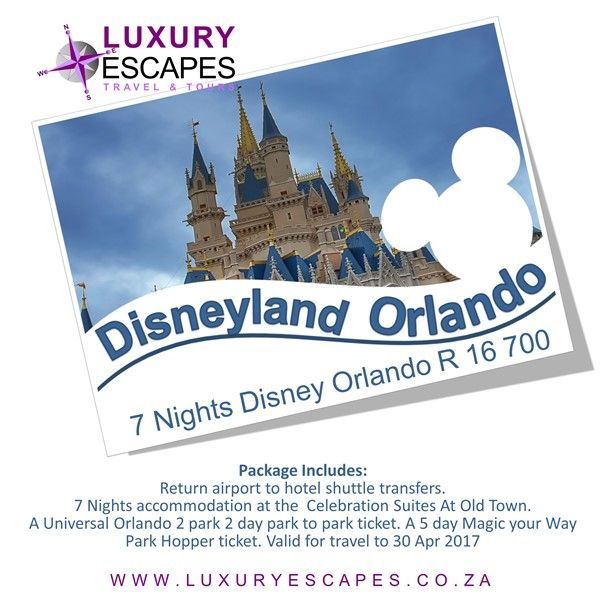 7 Nights Disney Orlando from R 16 700 Incl. Return transfers. 7 Nights accommodation, 7 day park tickets. Valid for travel to 30 Apr 2017. For more visit www.luxuryescapes.co.za