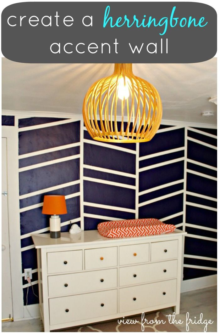 My oh my! @View From The Fridge created a gorgeous navy herringbone accent wall in her home, and I want one now! /ES