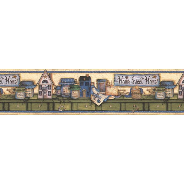 414B06755 Blue Country Border - Kansas - Brewster Wallpaper