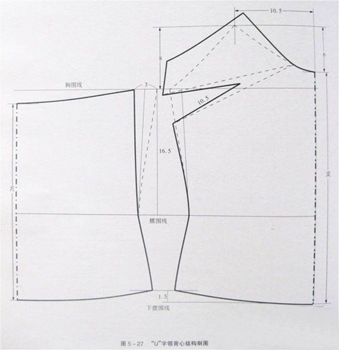 Blusita de tiras 连身内衣背心款式结构制图