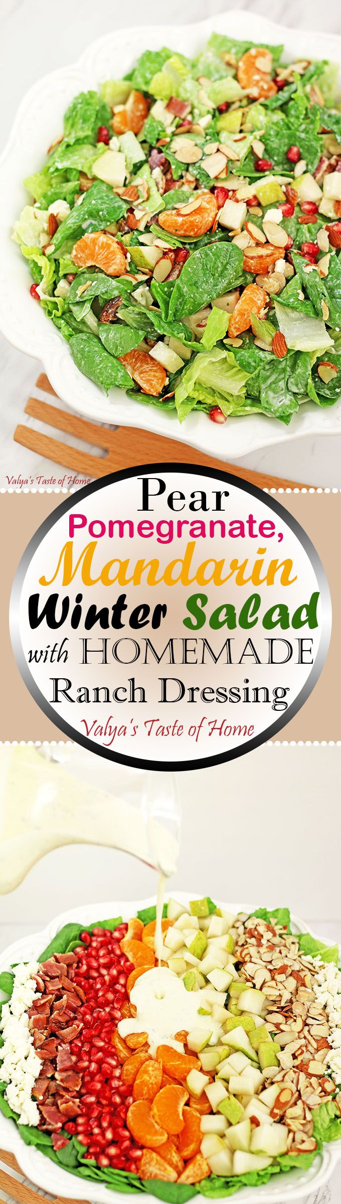 This bright and colorful salad with some winter harvested fruit is so easy to make. It offers not just a beautiful display of diverse colors and flavors on your table but adds variety of choice and nutrition, which tends to decline during the winter season. Bacon, feta and toasted almonds add so many flavors to this salad. All of the ingredients meld together really well.