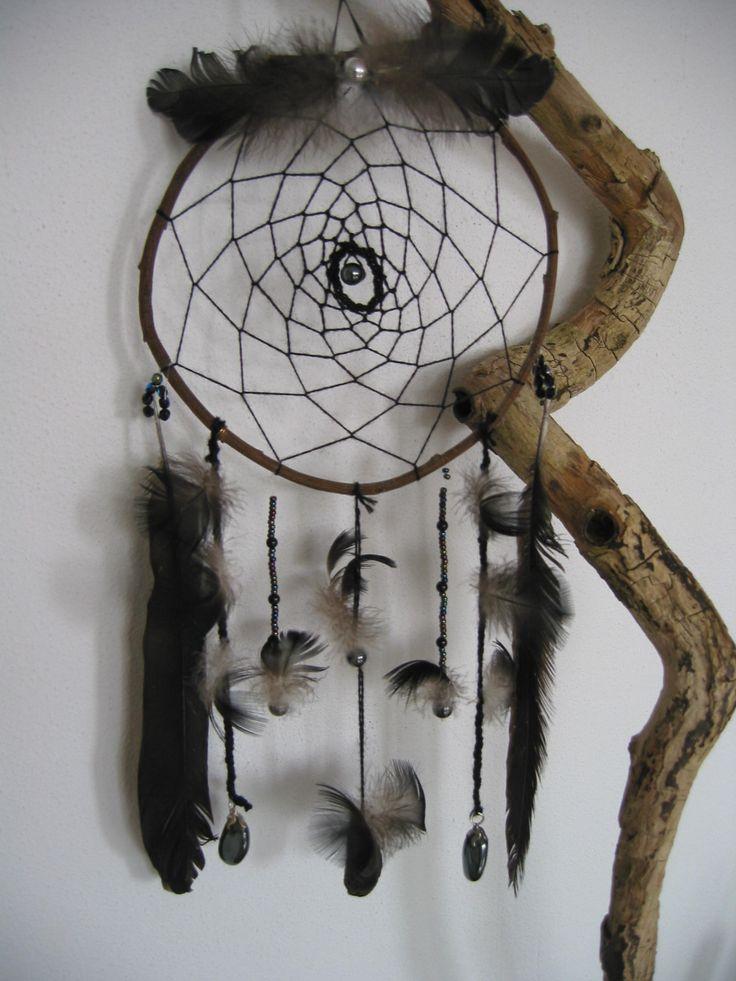 Dank je wel Dromenvanger voor iemand die van zwarte veren houdt met hematiet en toermalijnkraaltjes