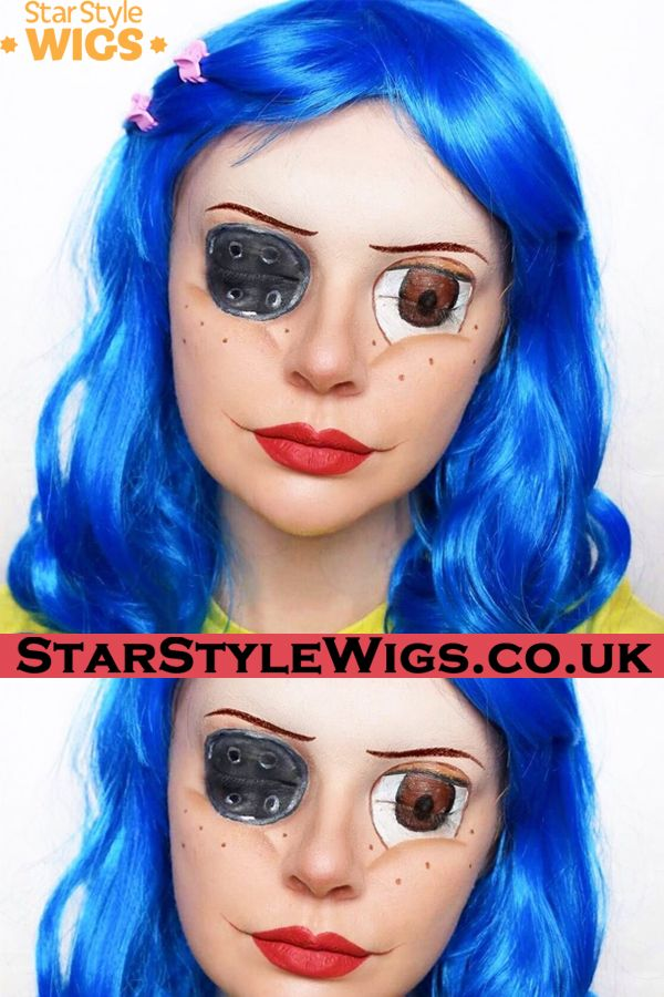 California Katy Wig Coraline Makeup Blue Wig Halloween Wigs
