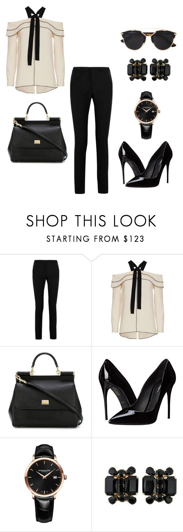 """""""Untitled #307"""" by nadiralorencia on Polyvore featuring Yves Saint Laurent, Proenza Schouler, Dolce&Gabbana, Raymond Weil, Dsquared2, Christian Dior, women's clothing, women, female and woman"""