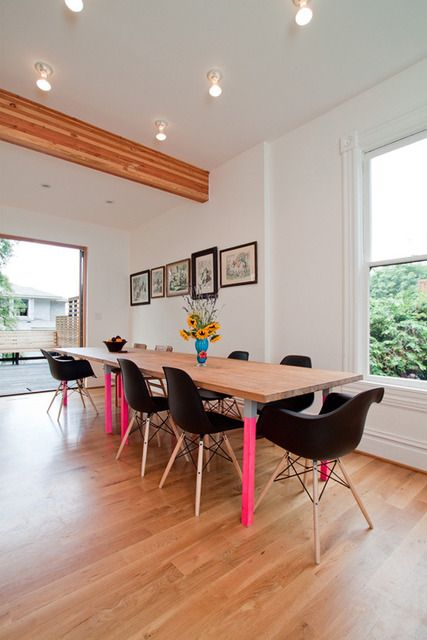 a pop of color with a lot of white could be fun.: Dining Rooms, Modern Furniture, House Tours, Victorian House, Tables Legs, Paintings Tables, Furniture Ideas, Farms Tables, Dining Tables