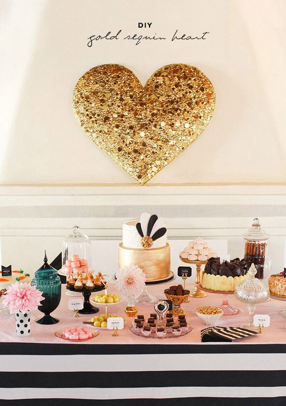 diy gold sequin heart -- a great backdrop to a sweets table