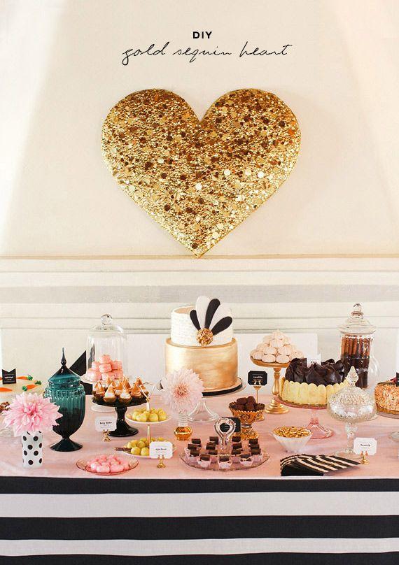 diy gold sequin heart