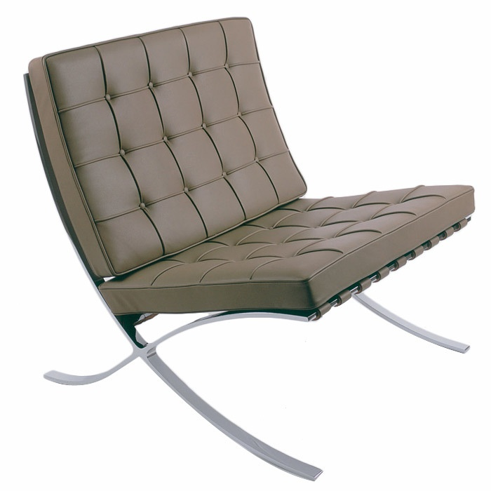 Knoll Barcelona Chair in gray - so iconic! Two of these in a corner sitting area.