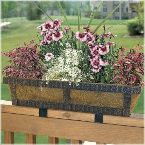 s watering self railings ferns or brown gardener and planted in with deck planters for close planter of railing supply buy on sale up rail