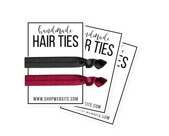 Printable Hair Tie Card Personalization Option Included Etsy Display Cards Cards Printing Center
