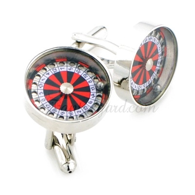 Red and Silver Casino Roulette Wheel Cufflinks
