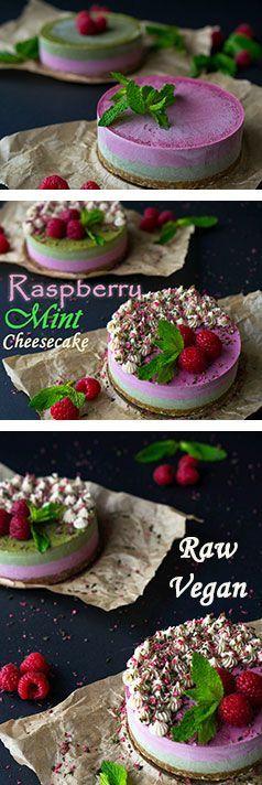 Raspberry Mint Cheesecakes with Cashew Cream Icing! Raw, Vegan and Gluten-Free!