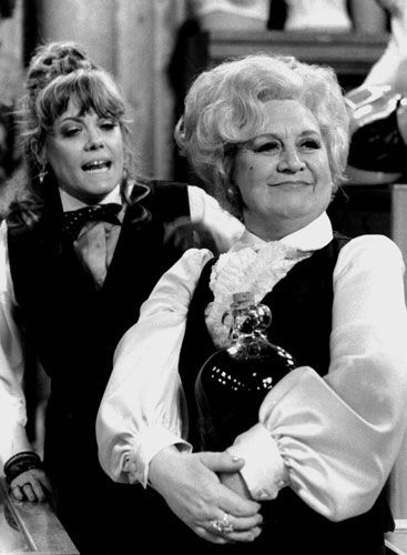 Mollie Sugden (1922-2009) as Mrs Slocombe and Wendy Richard as Miss Brahms in Are You Being Served, 1972 - 1985. S)