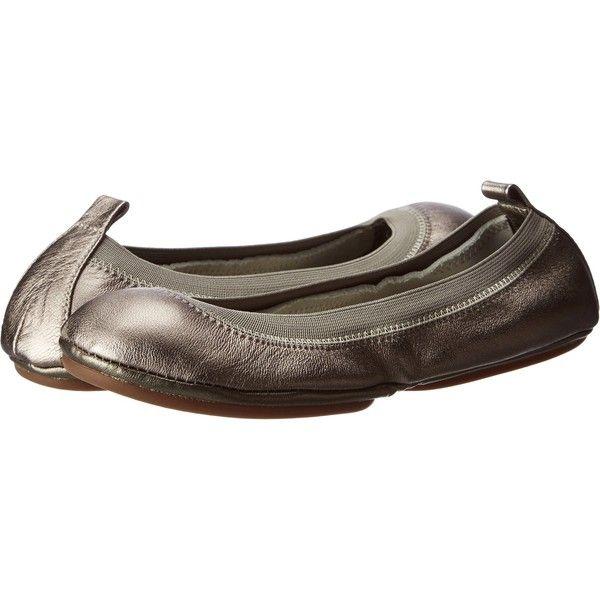 Yosi Samra Samara Metallic Women's Flat Shoes, Pewter featuring polyvore, fashion, shoes, flats, pewter, pewter shoes, flat slip on shoes, flat shoes, ballerina flat shoes and pewter ballet flats