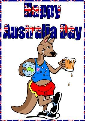 Cartoon Kangaroo Australia Day Card on Craftsuprint designed by Crafty Bob - This card is suitable for any age and can be personalised with additional wording if you wish. - Now available for download!
