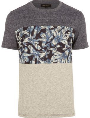 River Island Navy marl floral stripe t-shirt on shopstyle.co.uk