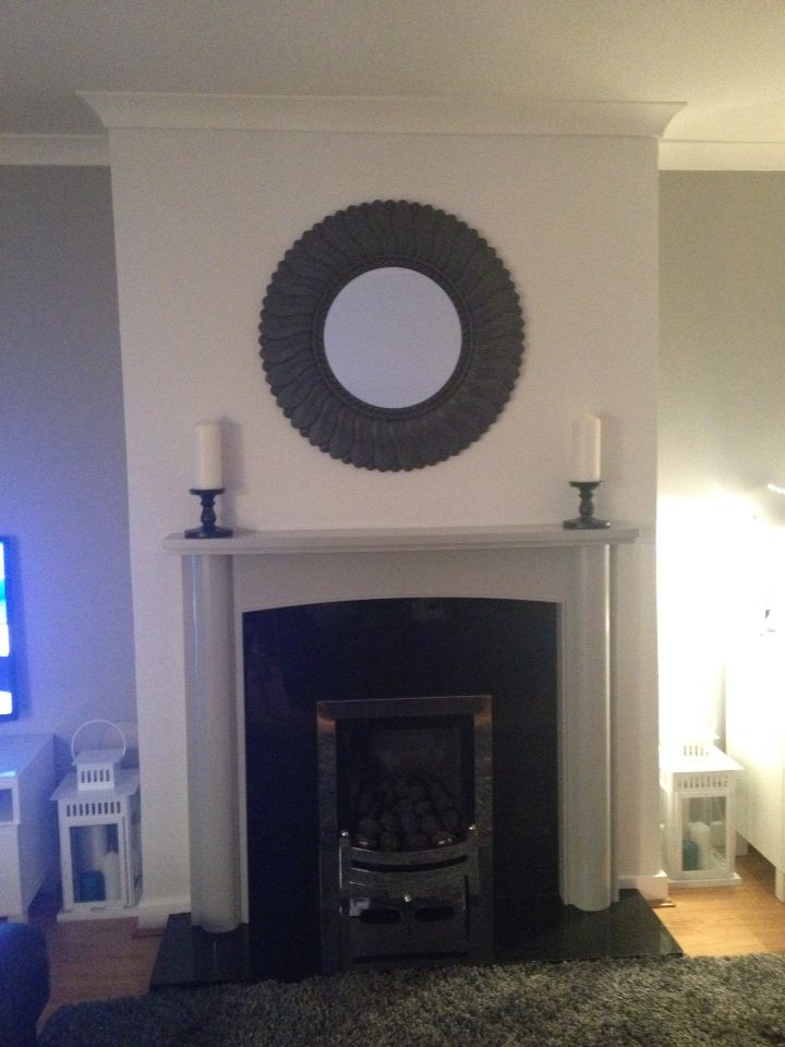 Dulux white mist and chic shadow living room with spray painted mirror and painted oak mantle