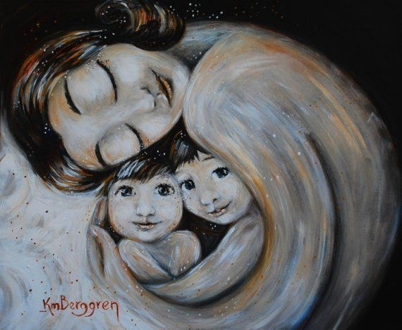 Mother and child - Home - archival signed 12x12 motherhood print by Katie M. Berggren