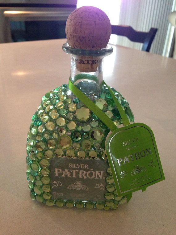 Bedazzled Patron bottle green by BedazzledBottles on Etsy, $80.00