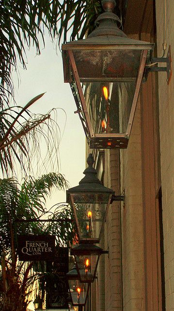 Gas lanterns...the official light fixture of the French Quarter.   How beautiful. Last time I was down there I don't remember seeing these. makes me want to go back.