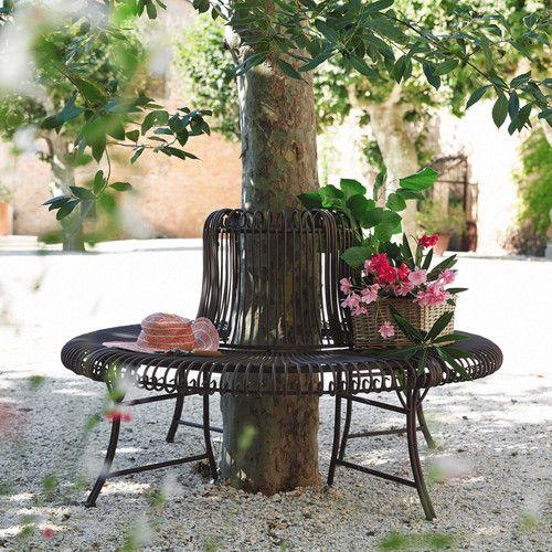 Banc de jardin en fer forgé marron L 143 cm