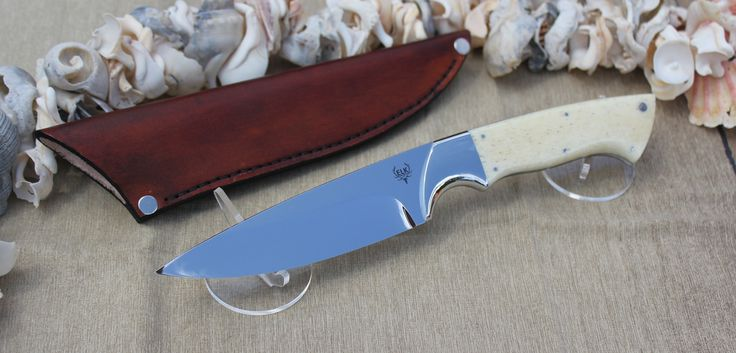 BLADE - 12C27 STAINLESS BOLSTERS - 304 STAINLESS HANDLE - GIRAFFE BONE AND ROUNDED OF WITH MOSAIC PIN