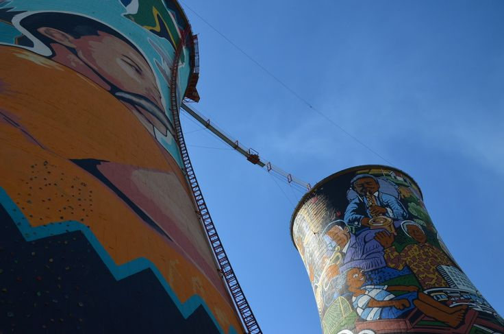 Colorful Orlando Towers in Johannesburg, South Africa