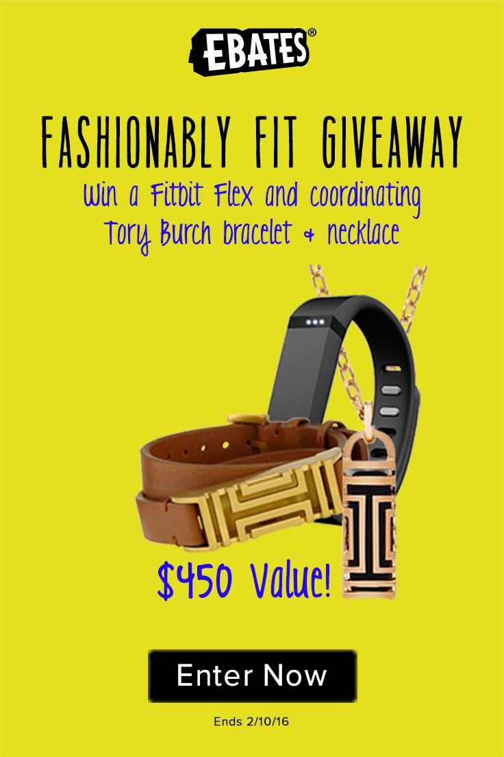 Enter this competition from Ebates to win a Fitbit Flex and Tory Burch Fitbit necklace & bracelet! #giveaway
