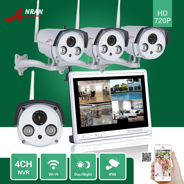 363.69$  Buy now - http://alilil.worldwells.pw/go.php?t=32789188463 - ANRAN CCTV 4CH P2P 720P 12'' LCD Monitor WIFI NVR 4pcs 2 Array IR Waterproof Camera 1.0 MP IP Wireless Surveillance System 363.69$